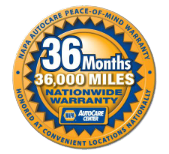 36 Months / 36,000 Miles Nationwide Warranty badge
